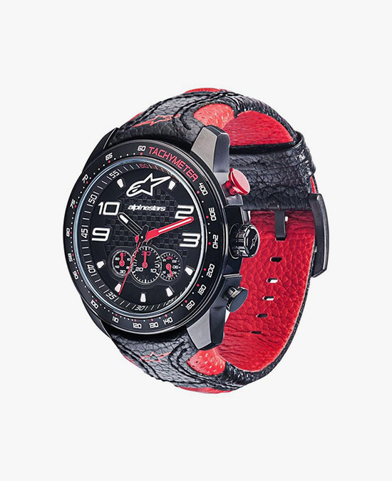 Alpinestars Tech Watch Chrono leather strap black-red/часы