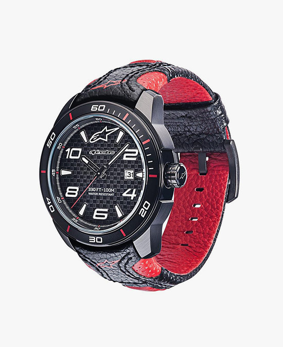 Alpinestars Tech Watch 3H black-red leather strap black/red/часы