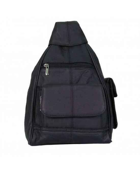 Hot Leathers Backpack Black Leather 9x13x4/рюкзак