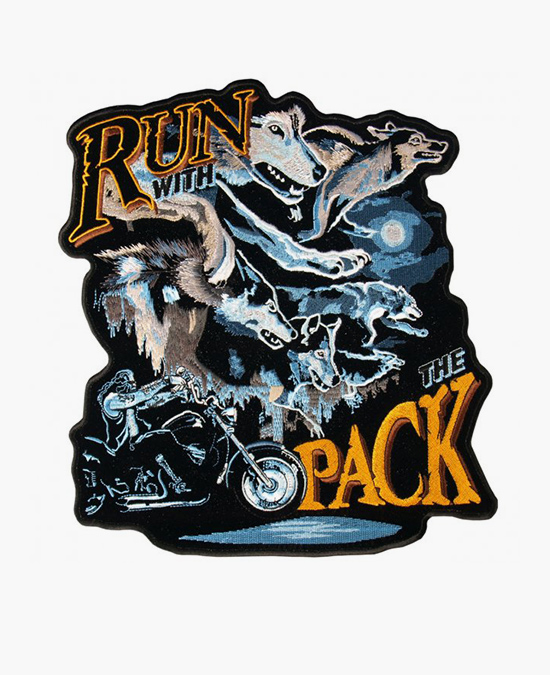 Hot Leathers Patch Run With The Pack Wolf/нашивка
