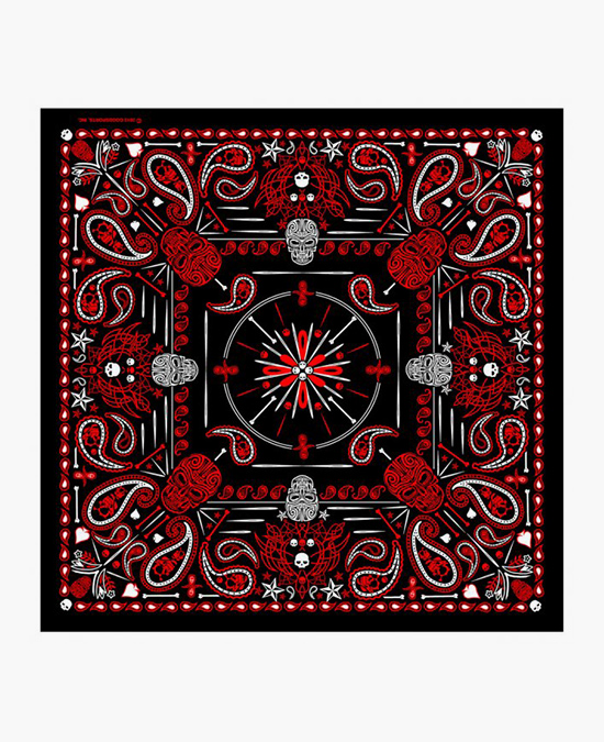 "Hot Leathers Bandana Red Paisley Skulls 21x21""/бандана"