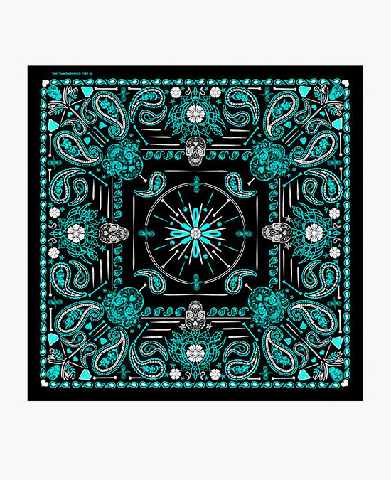 "Hot Leathers Bandana Blue Paisley Skulls 21x21""/бандана"