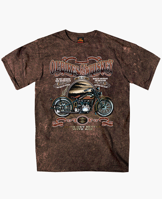 Hot Leathers Ol' Bikes & Whiskey T-shirt/футболка мужская