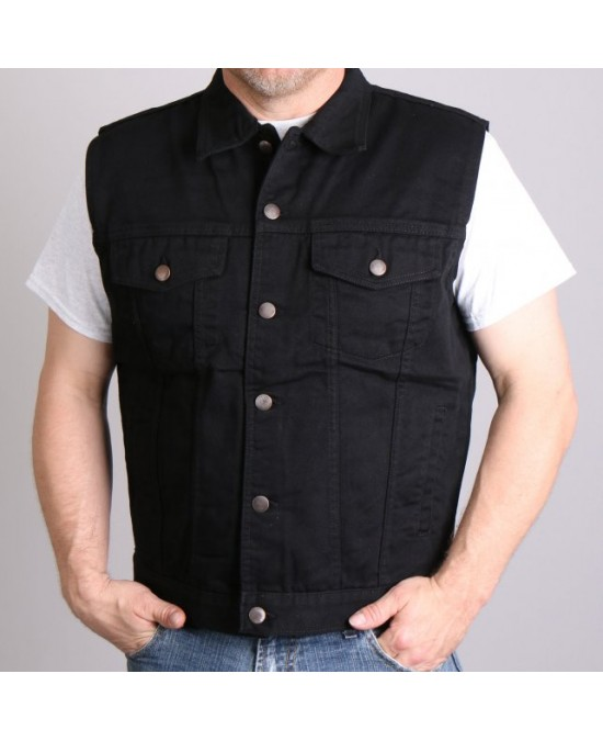 Hot Leathers Denim Vest Black/жилет джинсовый