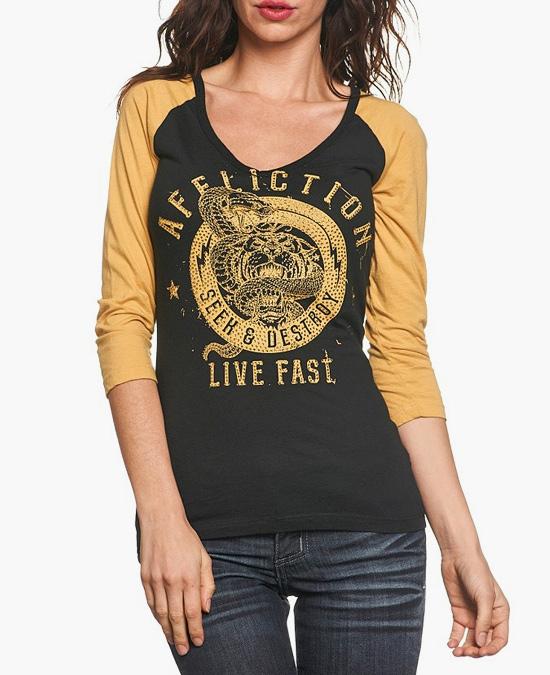 Affliction Tiger Snake Raglan/футболка женская