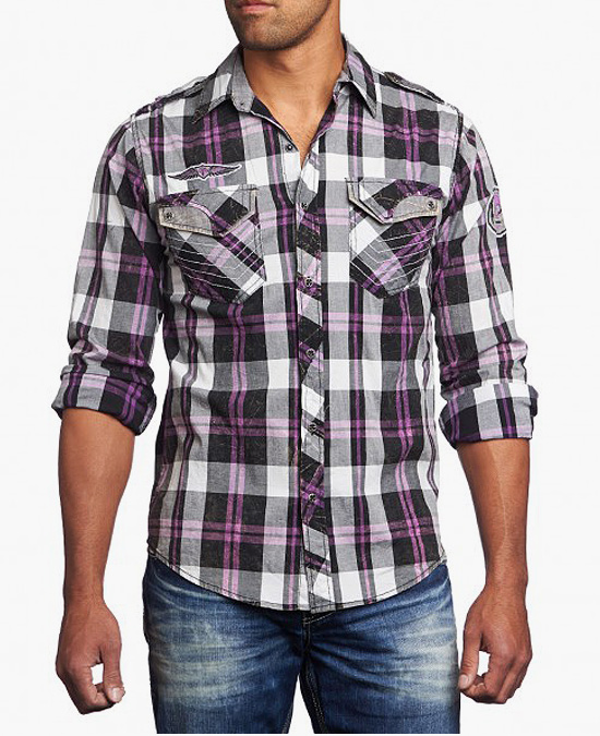 Affliction Shade of Purple Shirt/рубашка мужская
