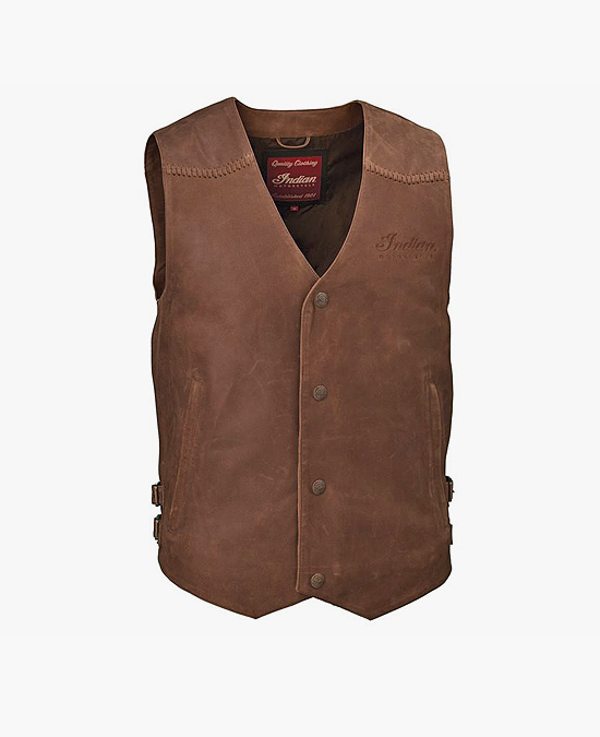 Indian Brown Leather Vest/жилет