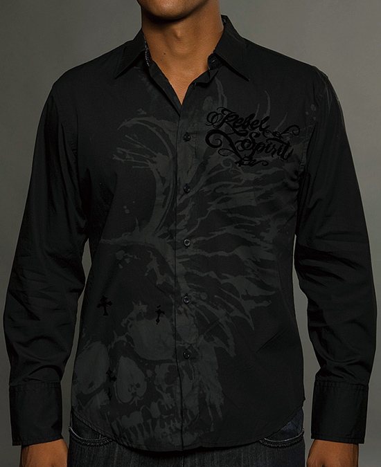 Rebel Spirit Men Long Sleeve Shirt/рубашка мужская