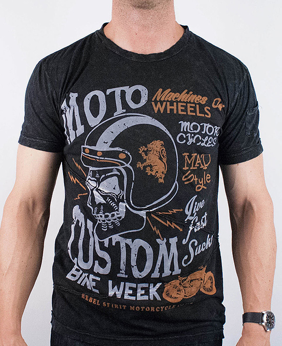 Rebel Spirit Men Moto Custom S/S Tee/футболка мужская