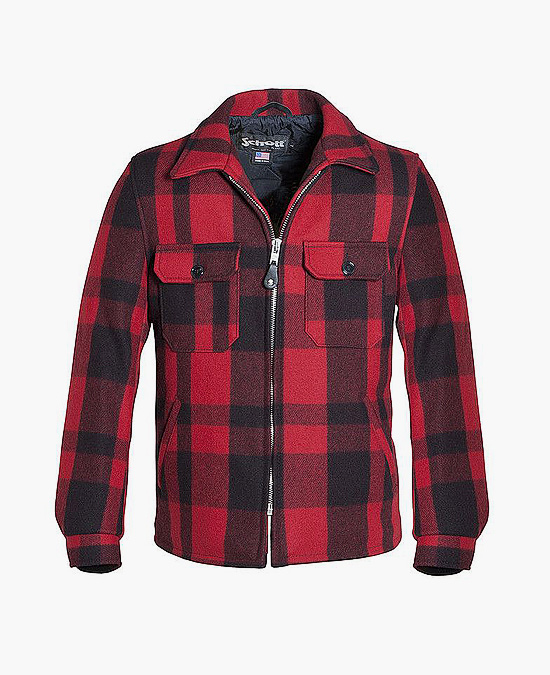 Schott  Buffalo Plaid Quilt Lined Wool CPO Work Shirt