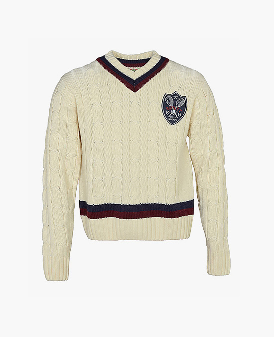 Schott Wool/Acrylic V-Neck Cable Knit Tennis Sweater