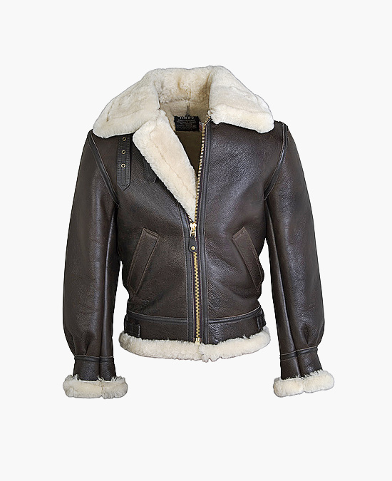 Schott  Classic B-3 Sheepskin Leather Bomber Jacket Brown