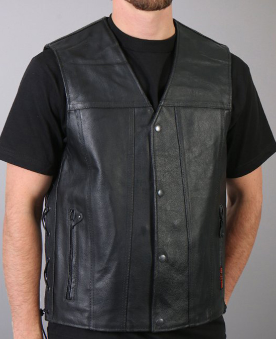 Hot Leathers Leather Vest with 2 Conceal Carry Pockets/жилет кожаный