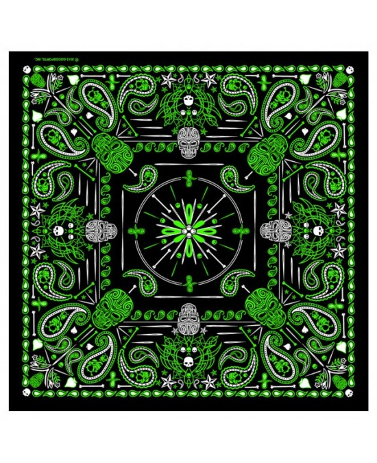 "Hot Leathers Bandana Green Paisley Skulls 21x21""/бандана"