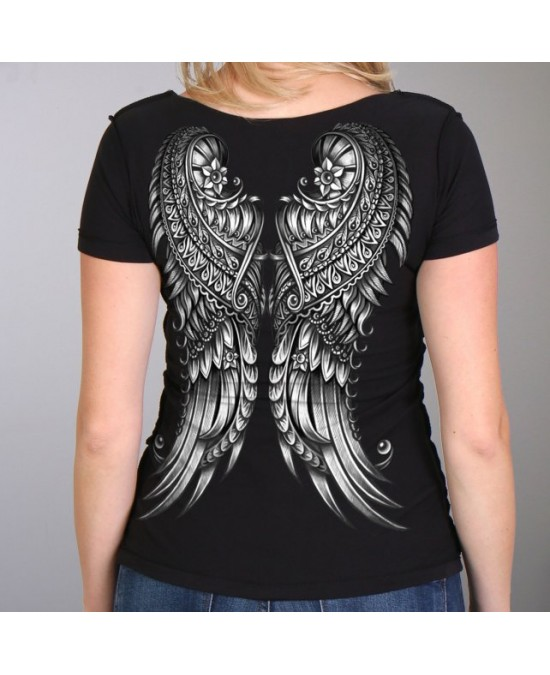 Hot Leathers Women Cut-Out Ornate Angel Wings T-shirt/футболка женская