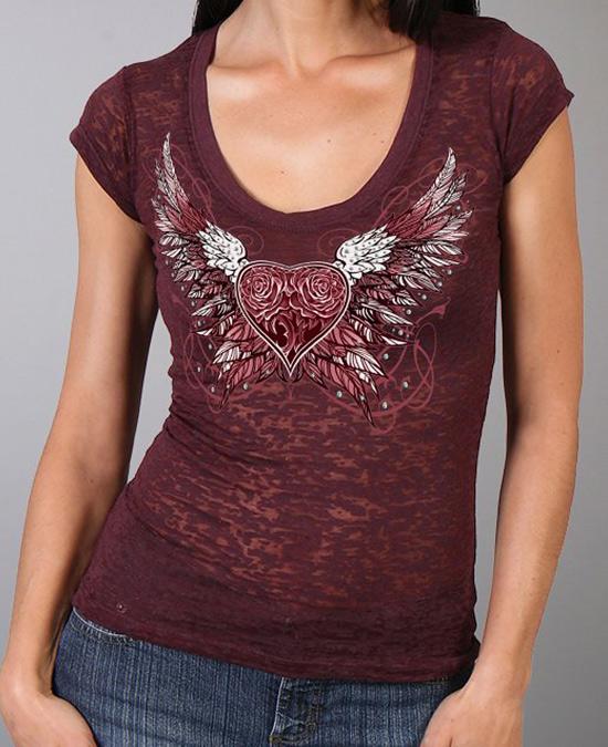 Hot Leathers Women Scoop Sparkle Wings T-shirt/футболка женская