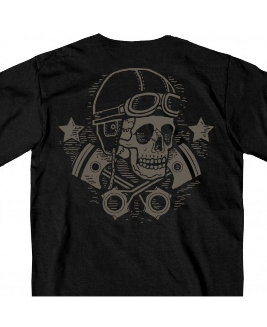 Hot Leathers Vintage Skull and Cross Pistons T-shirt