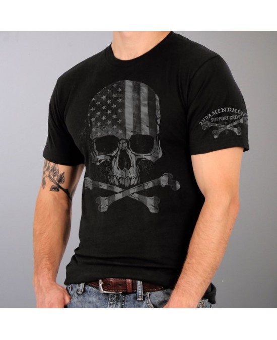 Hot Leathers Faded Skull Flag Military T-shirt