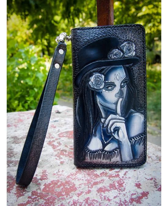 SmyrnovLeather портмоне на змейке с тесьмой Santa de Muerte