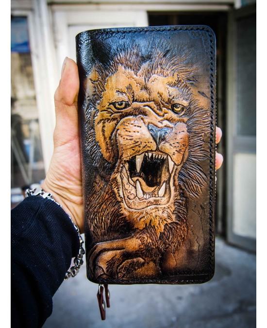 SmyrnovLeather портмоне с двойной змейкой Лев