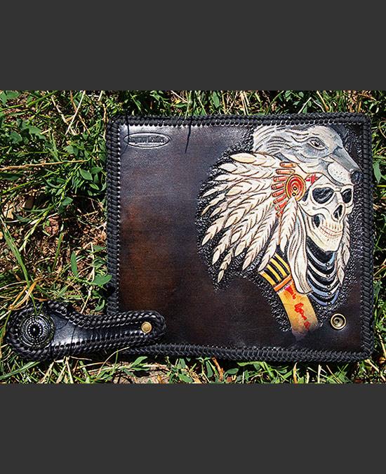 SmyrnovLeather портмоне с тесьмой Индеец с Волком