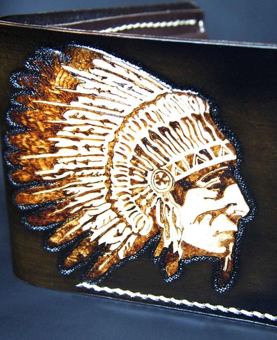 SmyrnovLeather кошелек вождь индейцев