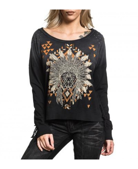 Affliction Women Trailhead L/S Fringe Top/футболка женская