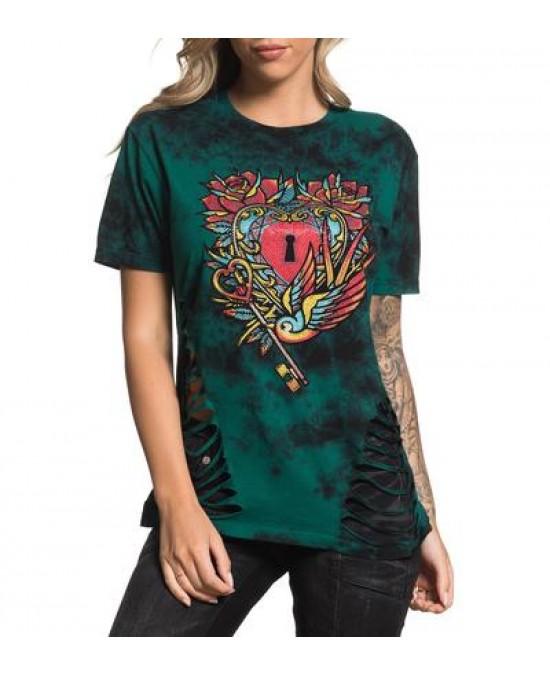 Affliction Women Heart Key S/S Tee/футболка женская