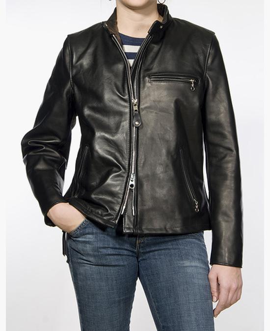 Schott Women's Classic Racer Leather Motorcycle Jacket