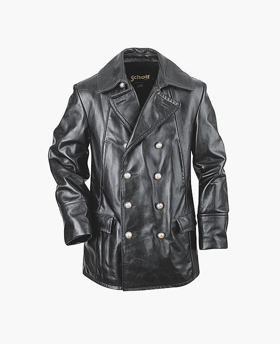 Schott Double Breasted Military Leather Jacket