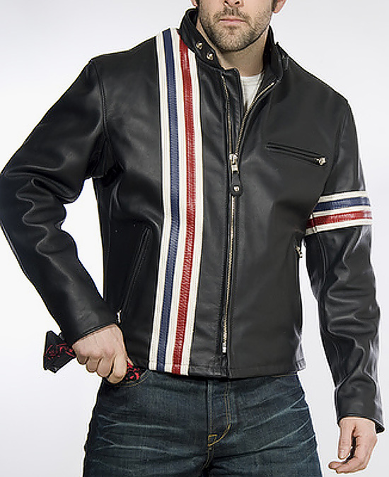 Schott Easy Rider Striped Motorcycle Leather Jacket