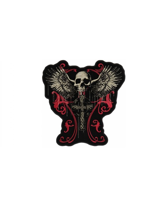 Hot Leathers Patch Flying Skull Gothic Cross/нашивка